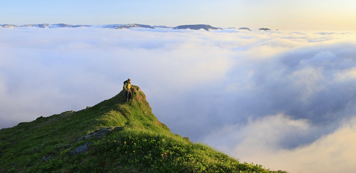 A hiker above the clouds at around 1am on a coastal mountain on the Hornstrandir Peninsula of the Westfiords region of Iceland...