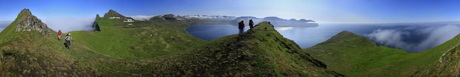 two,hikers,composite,panorama,double,locations,Hornstrandir Peninsula,Iceland,Westfiords,Hornsbjarg, photo