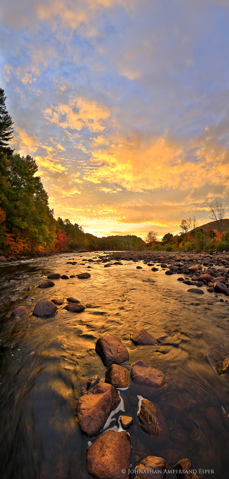 North River,Hudson River,vertical panorama,riverbed,rocks,river,sunrise,brilliant,orange,autumn, photo