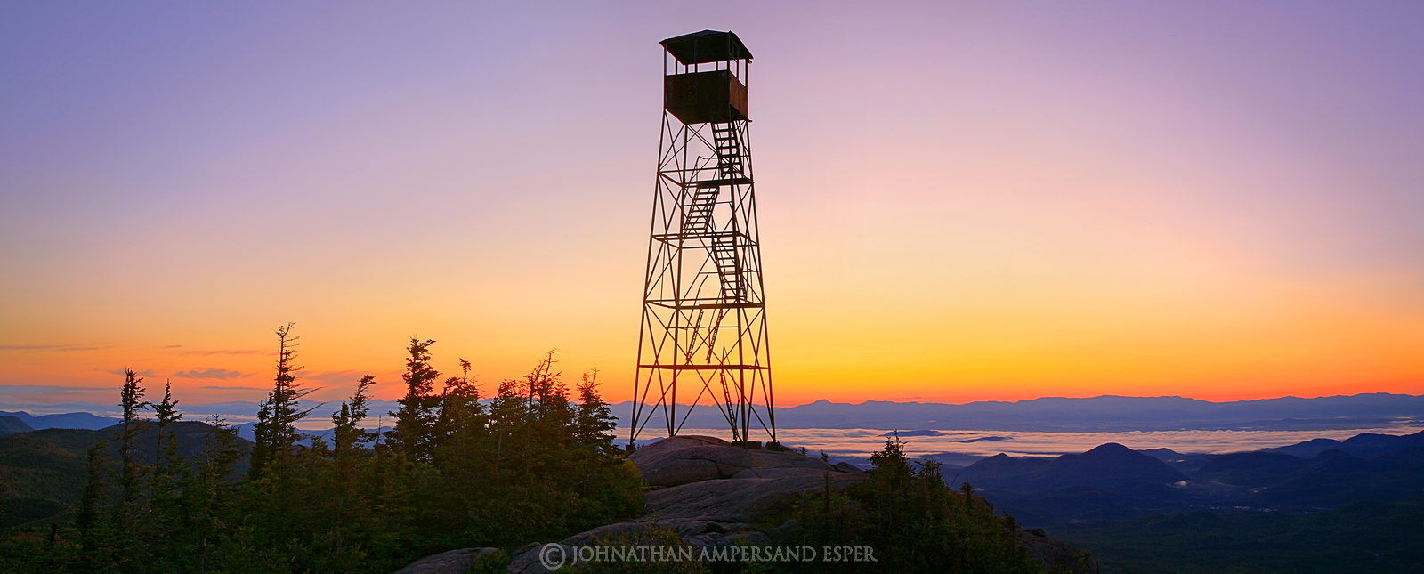 Hurricane Mountain, firetower, sunrise, Champlain Valley, sillouette, Hurricane Mt, predawn, Green Mountains, Vermont Ca, photo