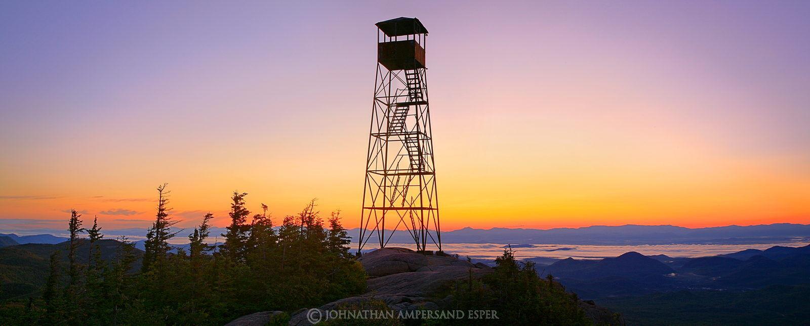 Hurricane Mountain, firetower, sunrise, Champlain Valley, sillouette, Hurricane Mt, predawn, Green Mountains, Vermont Ca, photo