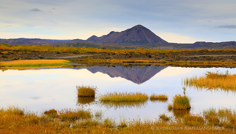 Hverafell,Myvatn,fall,reflection,Iceland,autumn,, photo