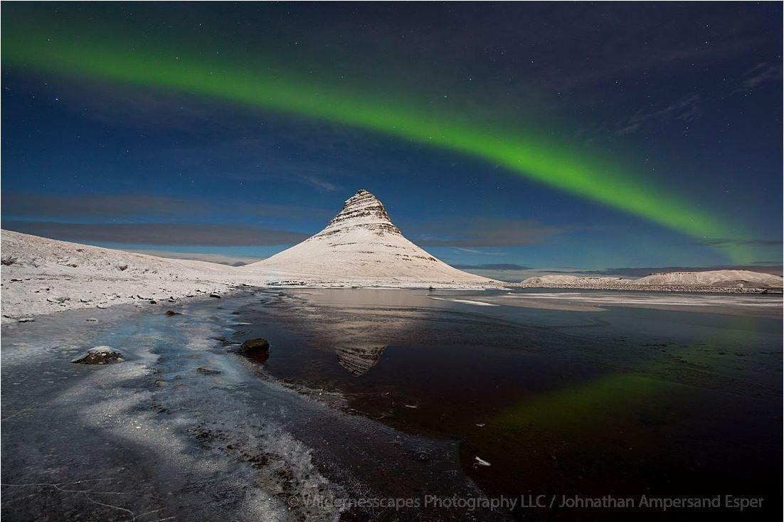 Kirkjufell moonlit Aurora band in January 2015, Iceland.