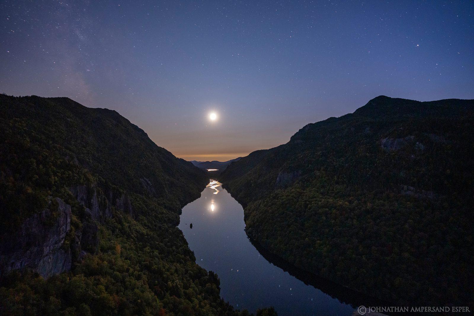 Ausable Lake,Lower Ausable Lake,Indian Head,full moon,moon,moonlight,night,2020,