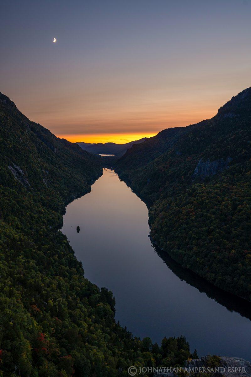 Lower Ausable Lake,Indian Head,cliffs,twilight,2020,summer,High Peaks,
