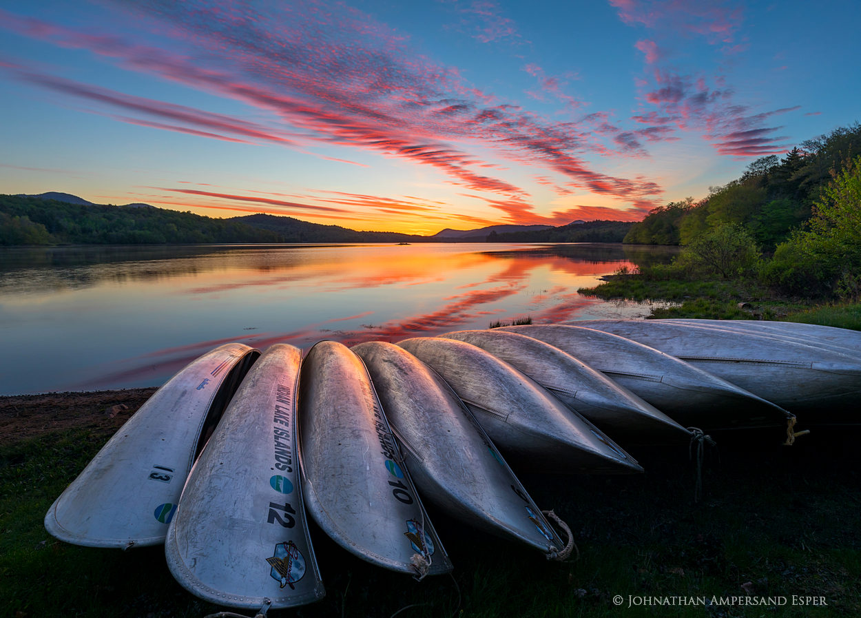 Indian Lake,aluminum canoes,canoes,canoe stack,boat launch,sunrise,spring,2017,Johnathan Esper,reflection,brilliant,spectacular,, photo