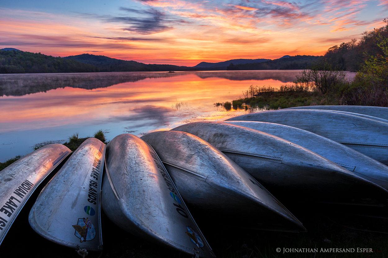 Indian Lake canoes,Indian Lake,canoes,canoe,canoe stack,aluminum canoe,campground,boat launch,sunrise,spring,2016,Adirondacks,Adirondack,Johnathan Esper, photo