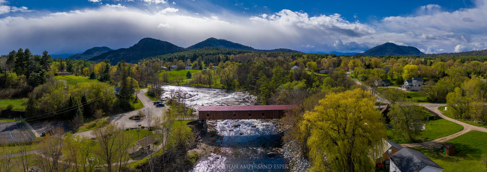 Jay,Jay town,town of Jay,Jay covered bridge,covered bridge,bridge,Ausable River,spring,May,2021,drone,town