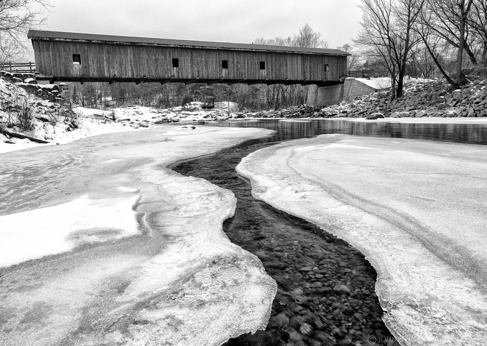 Jay covered bridge,Jay,covered bridge,winter,black and white