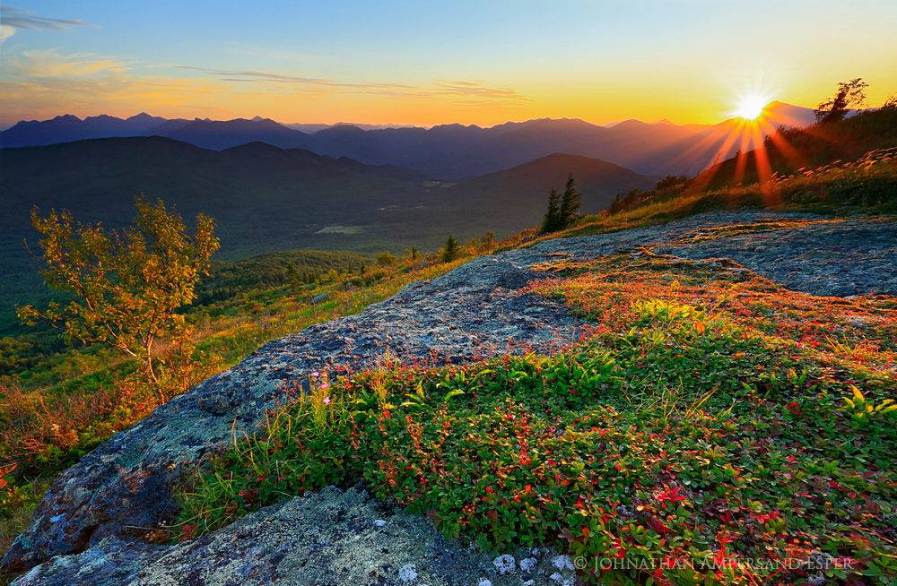 Jay Range,Jay Mountain,Jay Mt,Jay Mt range,Whiteface Mt,summer,sunset,sunburst,High Peaks,Adirondacks,Jay,Johnathan Esper, photo