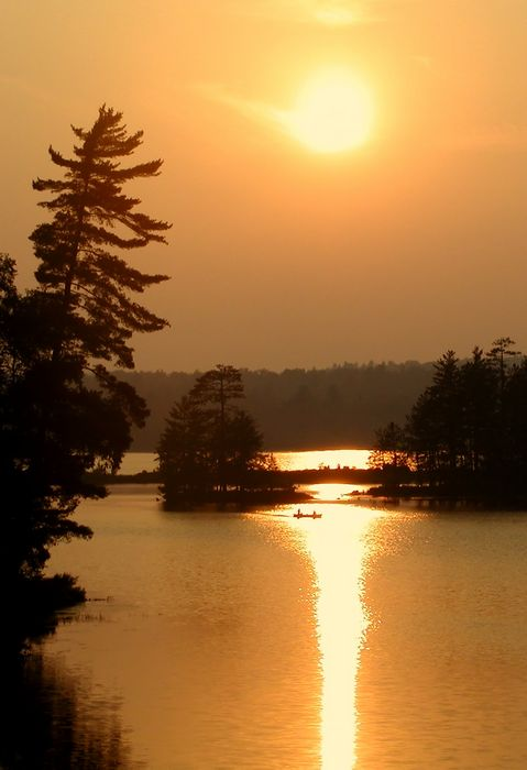 canoeing, canoeists, summer, evening, still, life, sillouette, hazy, warm, golden, sunset, pond, Jennings Pond, Long Lak, photo