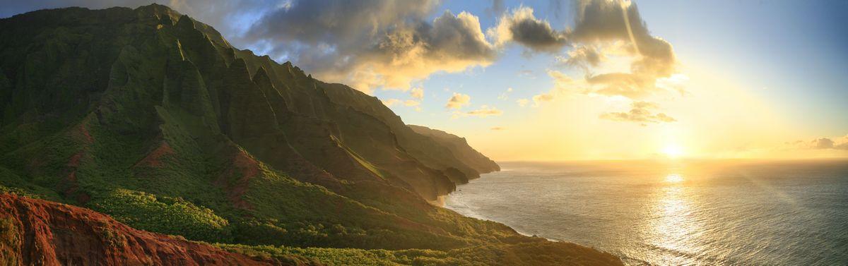 Kalalau Valley, Kalalau Trail, Na Pali coast, Kauai, sunset, pacific ocean, panorama, cliffs, Hawaii, photo