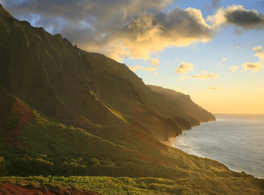 The best sunset view of the Na Pali cliffs is here, as Iwitnessed on a 3 day backpacking trip on the famous Kalalau Trail...