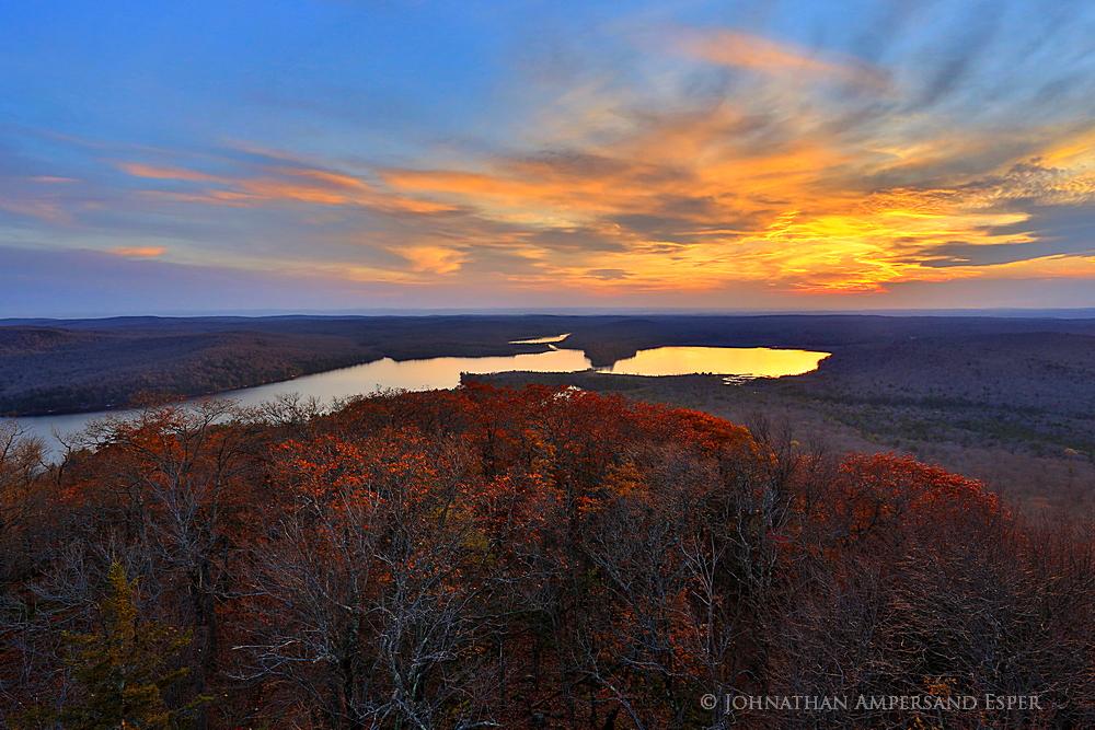 Canada Lake from Kane Mountain firetower November sunset, with residual oak foliage