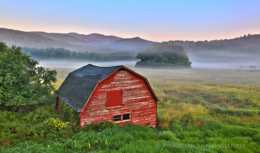 Keene Valley,barn,red,old,morning,sunrise,fog,Pitchoff Mt,Keene Valley barn,hdr,Adirondack Life,2012, photo