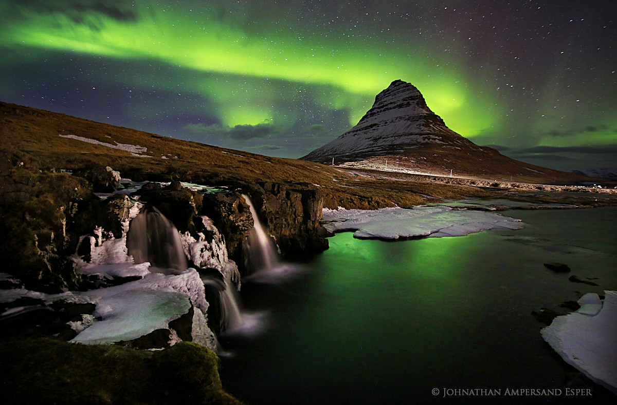Kirkjufellsfoss,Iceland,Aurora Borealis,Northern Lights,Kirkjufellsfoss Aurora Borealis,Kirkjufell,Snaefellsness Peninsu, photo