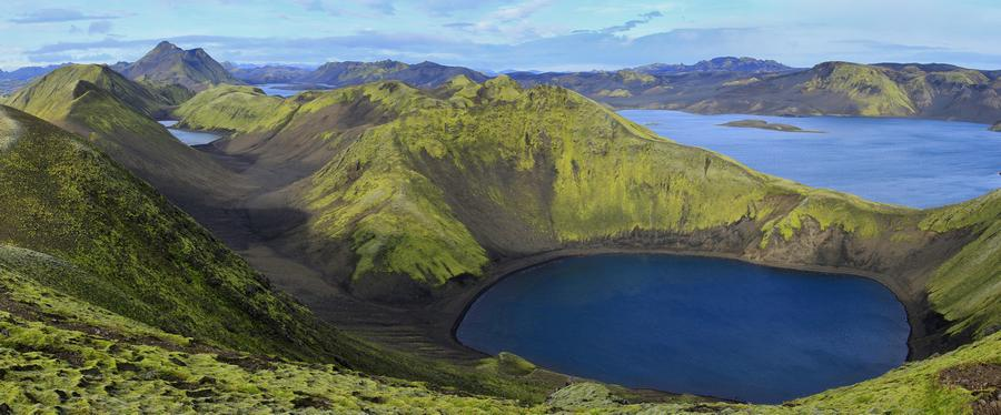 Langisjor,Iceland,lake,long,large,blue,green,mossy,mountains,chain,of,F, photo