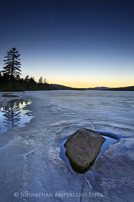 Planetary Rocks' Orbits,Venus,Jupiter,alignment,evening,night,sky,stars,Lake Durant,spring,ice,receding,lake,rock,planet, photo