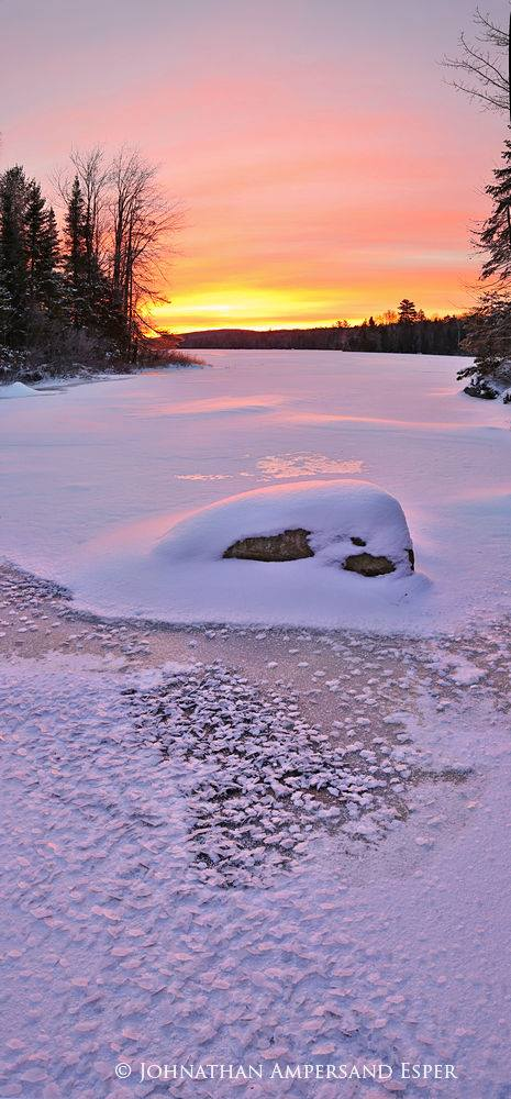 Lake Durant,vertical panorama,ice crystals,ice flakes,pink sunrise,winter, photo