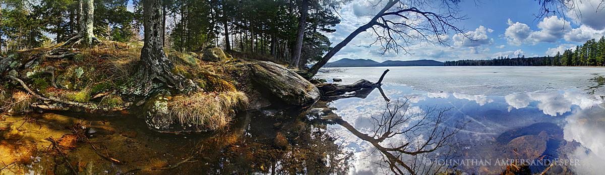 Lake Eaton,receding,ice,springtime,spring,shoreline,reflection,Owl's Head Mt,360, photo