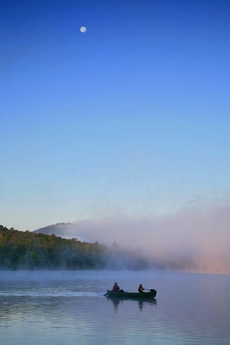 canoe,canoeists,canoeing,Lake Eaton,moon,morning,early,fog,lake,full,Owls Head,mountain,Adirondack,Adirondack Park, photo