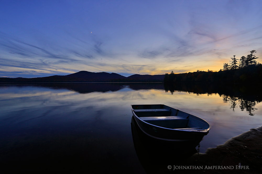 Lake Eaton campsite,Lake Eaton,Owls Head Mt,aluminum boat,boat,moored,floating,twilight,moon,Lake Eaton Campsite boat,, photo