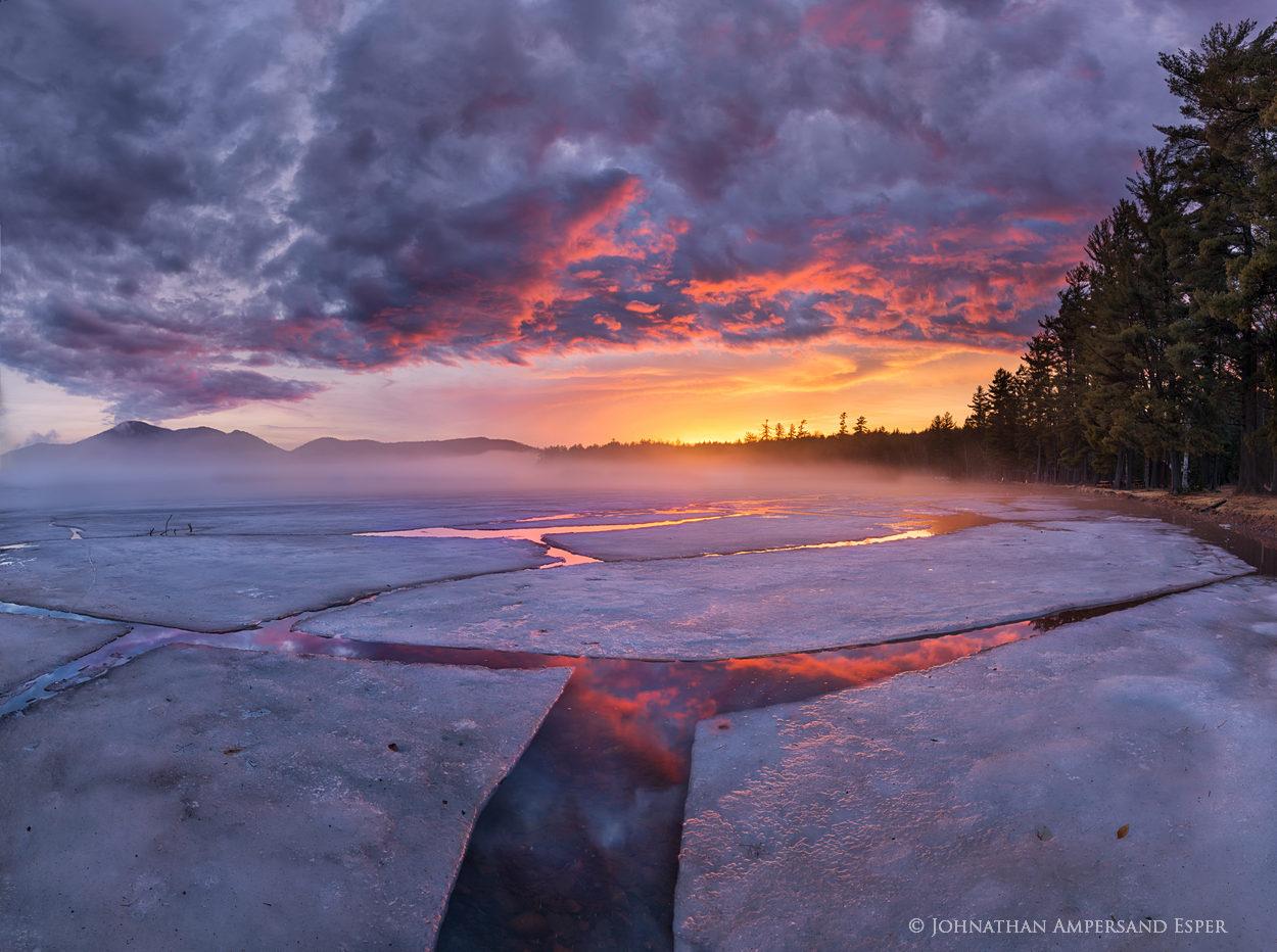 Lake Eaton,spring,ice,ice cracks,springtime,Lake Eaton campground,Owls Head Mt,fog,cracks,sunset,brilliant,Johnathan Esper,Adirondack Park,Adirondacks,photography,photographer, photo