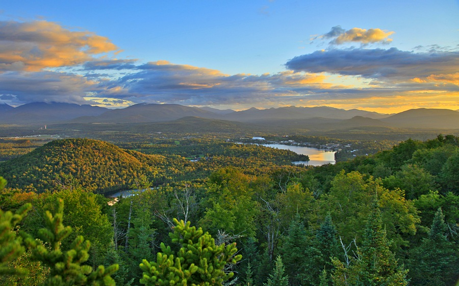 Cobble Hill, Echo Lake,Mirror Lake,Lake Placid,village,Olympic,High Peaks,treetop,Whitney Mt,Mt Whitney,, photo