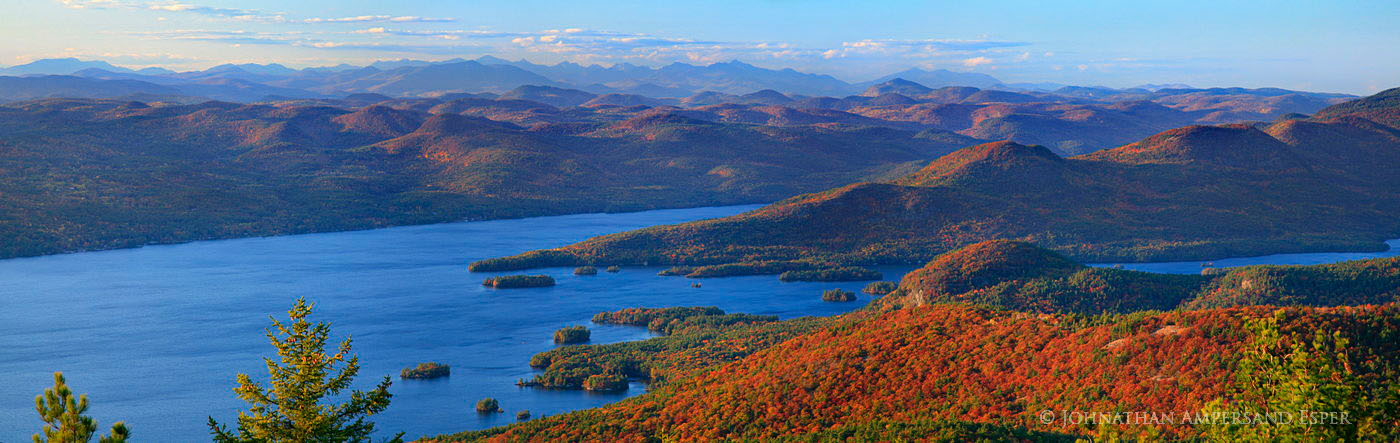 Lake George and the High Peaks mountains to the North in autumn from Buck Mt telephoto panorama