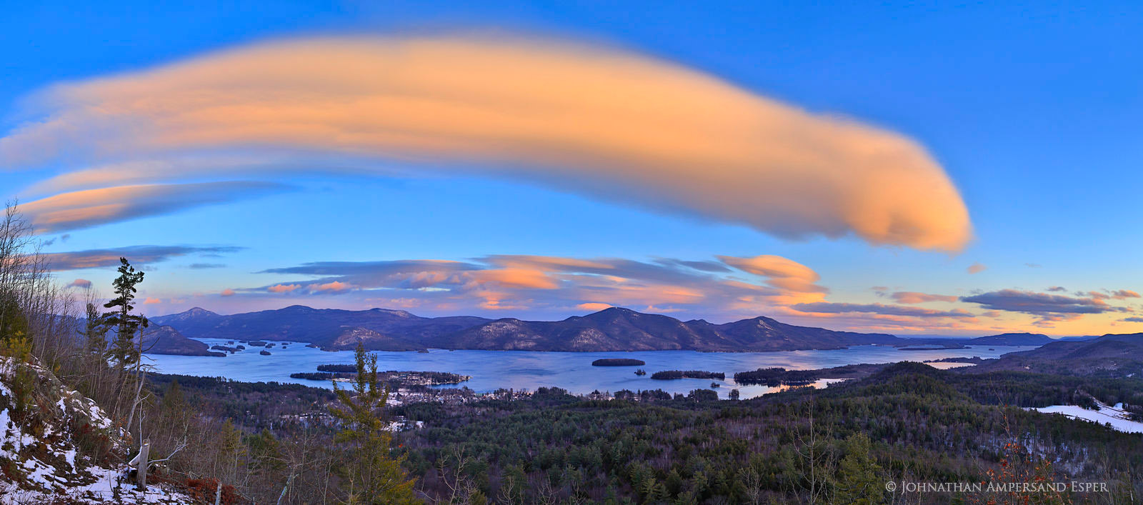 lenticular clouds,clouds,dramatic,Lake George,winter,2016,Adirondack Park,Adirondack,lake,Lake George lenticular clouds,The Pinnacle,Pinnacle,Pinnacle Lake George,sunset,, photo
