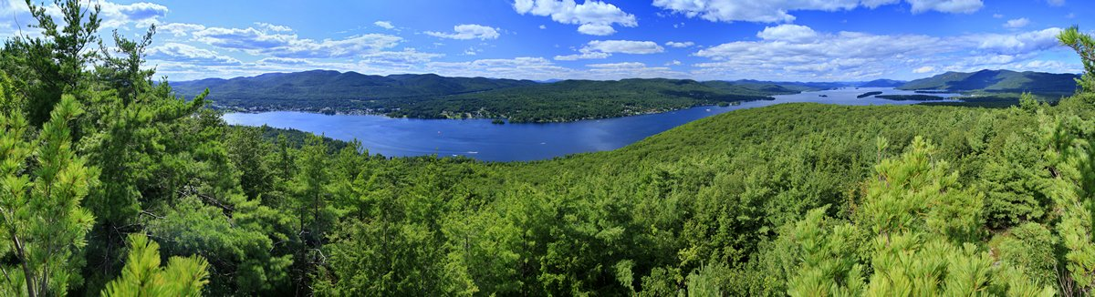 Lake George,panorama,Top of the World,mountain,summer,village,town,view,vista,pines,trees,treetop,boating,recreation,Adi, photo