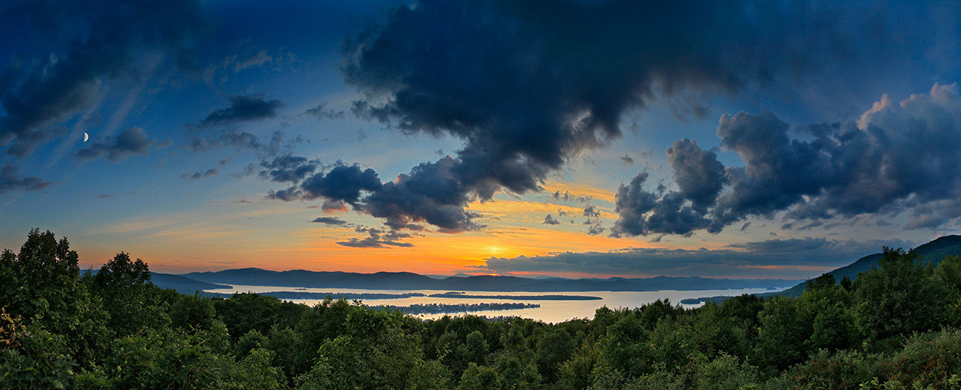 Lake George,Pilot Knob,preserve,moon,rising,storm,clouds,blue,sunset,summer,, photo