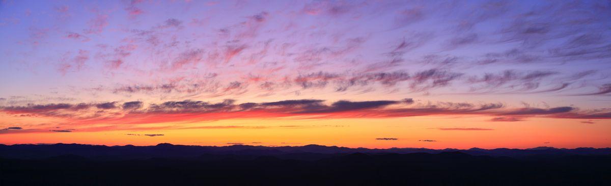 Lake George,panorama,panoramic,sunset,brilliant,red,magenta,purple,Adirondack Park,Adirondack Mountains,sillouette,sky,w, photo