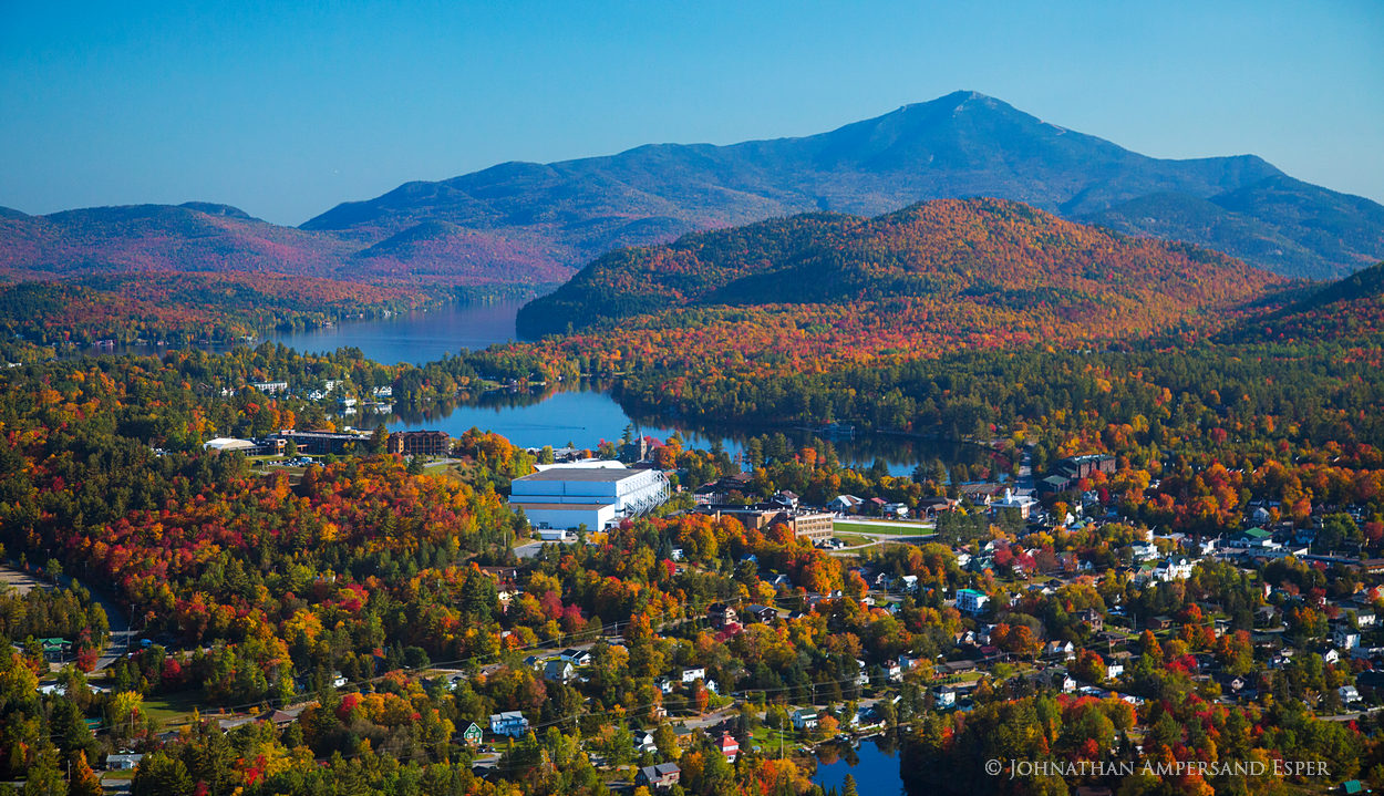 Lake Placid,Lake Placid village,Whiteface Mt,aerial,fall aerial,Mirror Lake, photo