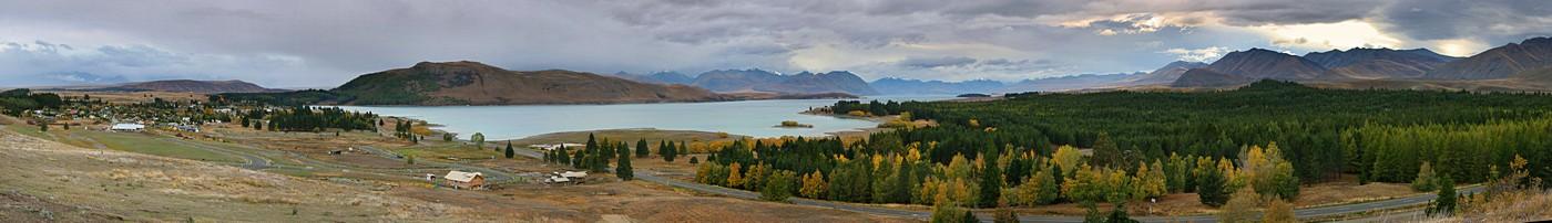 Lake Tekapo, New Zealand,panorama,village,town,lake,, photo