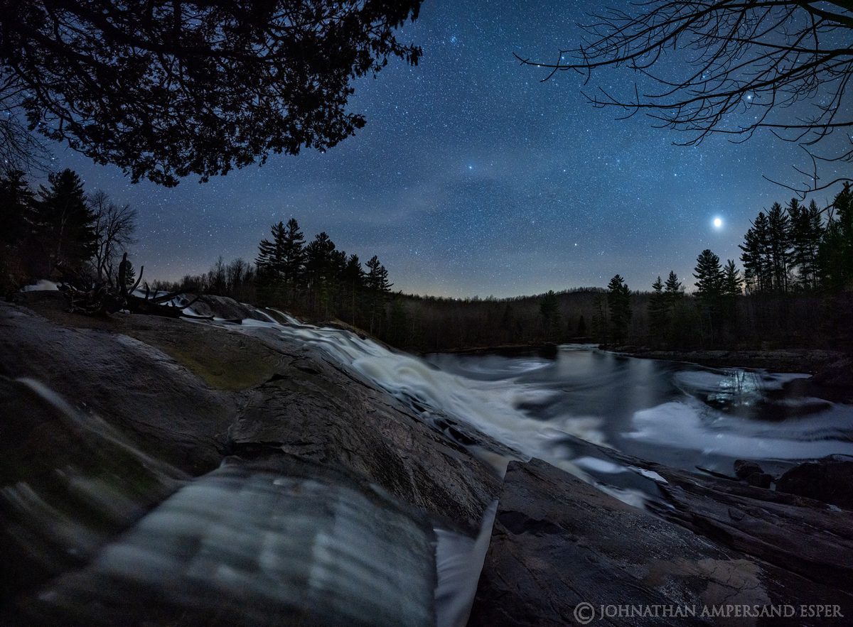 Lampson Falls on the Grass River, Grass River Wild Forest, springtime night sky with Venus to the west and Taurus constellation...