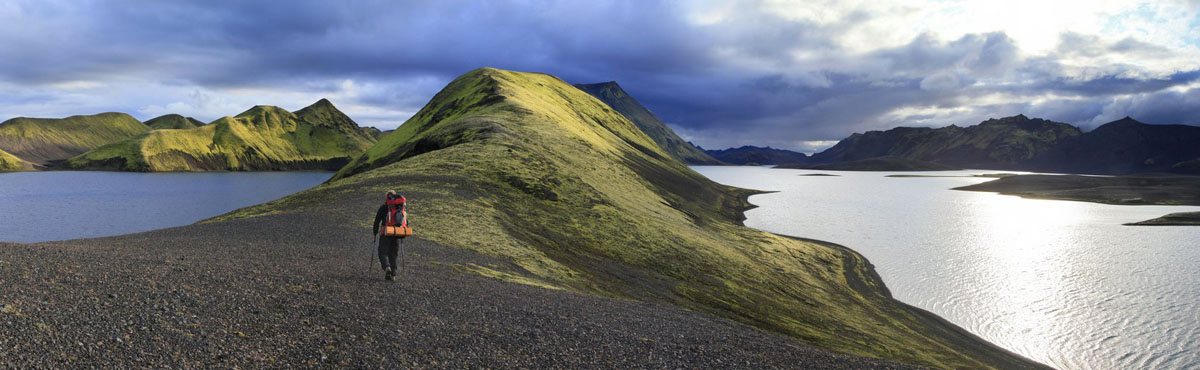 Langisjor,hiking,backpacking,backpacker,hiker,Long Lake,lake,Iceland,Icelandic,blue,glacial,two,land,mossy,green,mountai, photo