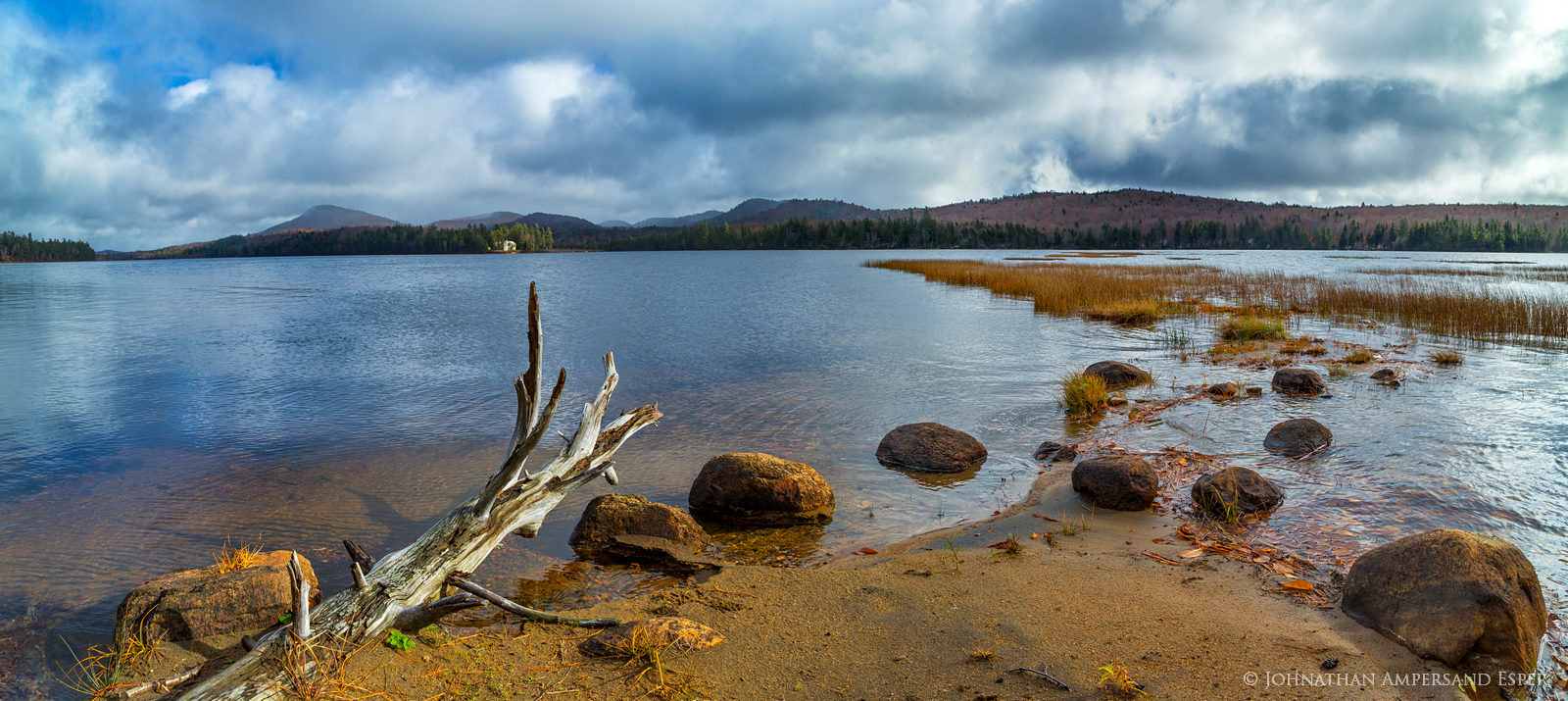 Little Tupper Lake,shoreline,November,late fall,snow,lake,Adirondack Park,sandy,point,sandy point,driftwood,Buck Mt,Whitney house,Whitney mansion,, photo