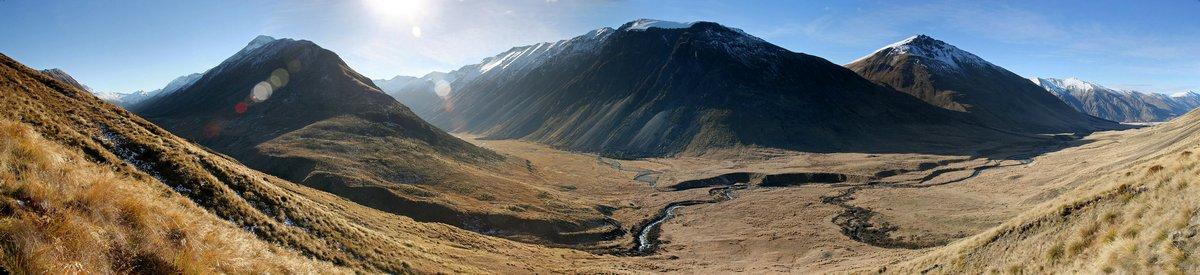 Windon Burn Valley and the Livingstone Mts near North Mavora Lake, South Island, New Zealand. 3 image composite panorama...
