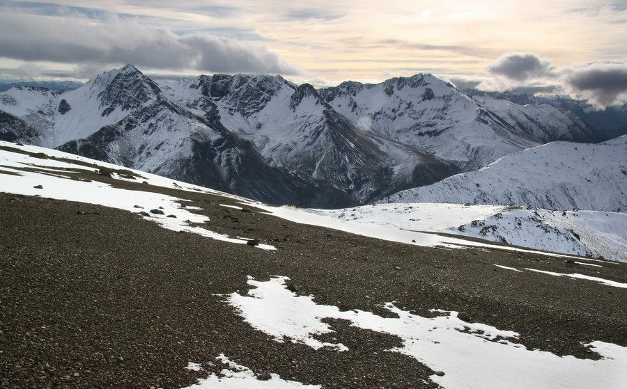 Livingstone Mountains in the Southern Alps range of New Zealand, in early winter