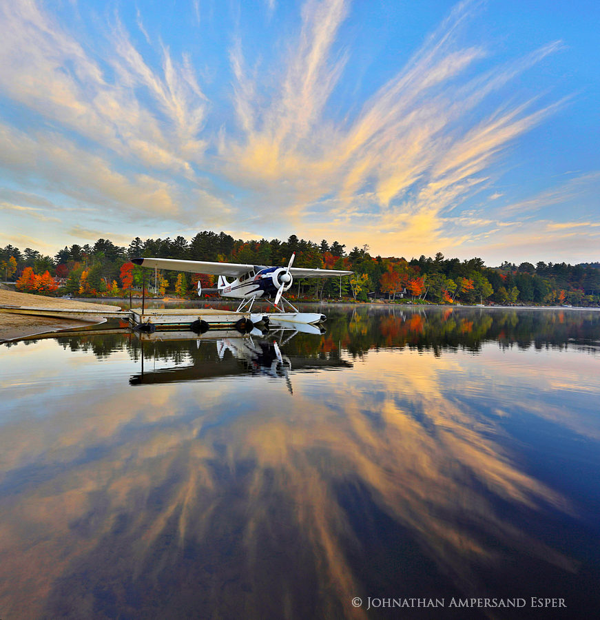 Long Lake,Long Lake town beach,floatplane,reflection,fall,, photo