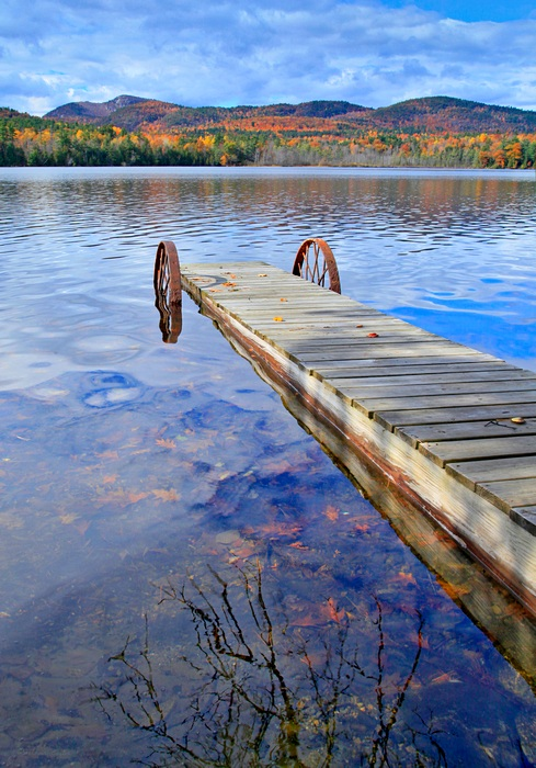 Long Pond,dock,wagon wheels,old,reflection,Pokomoonshine,autumn,leaves,, photo