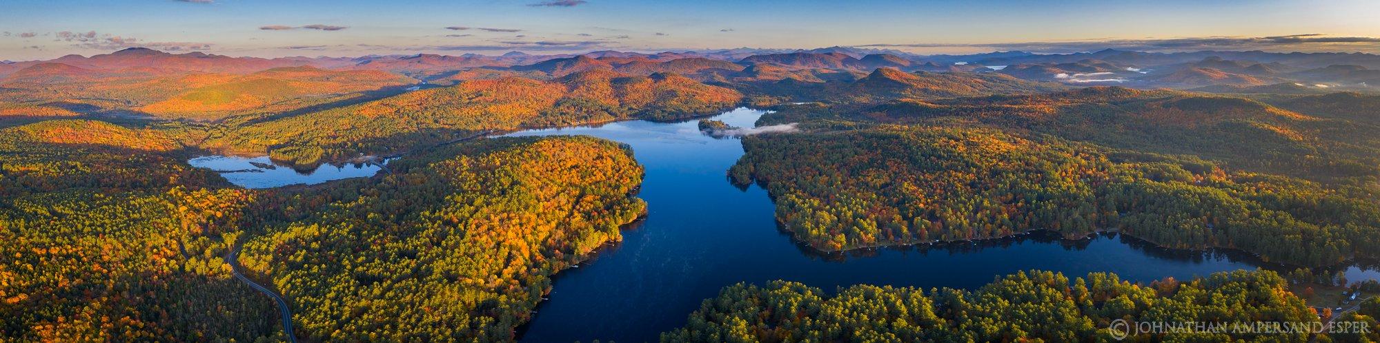 Loon Lake,drone,fall,2019,autumn,panorama,drone panorama,Gore Mt,High Peaks,