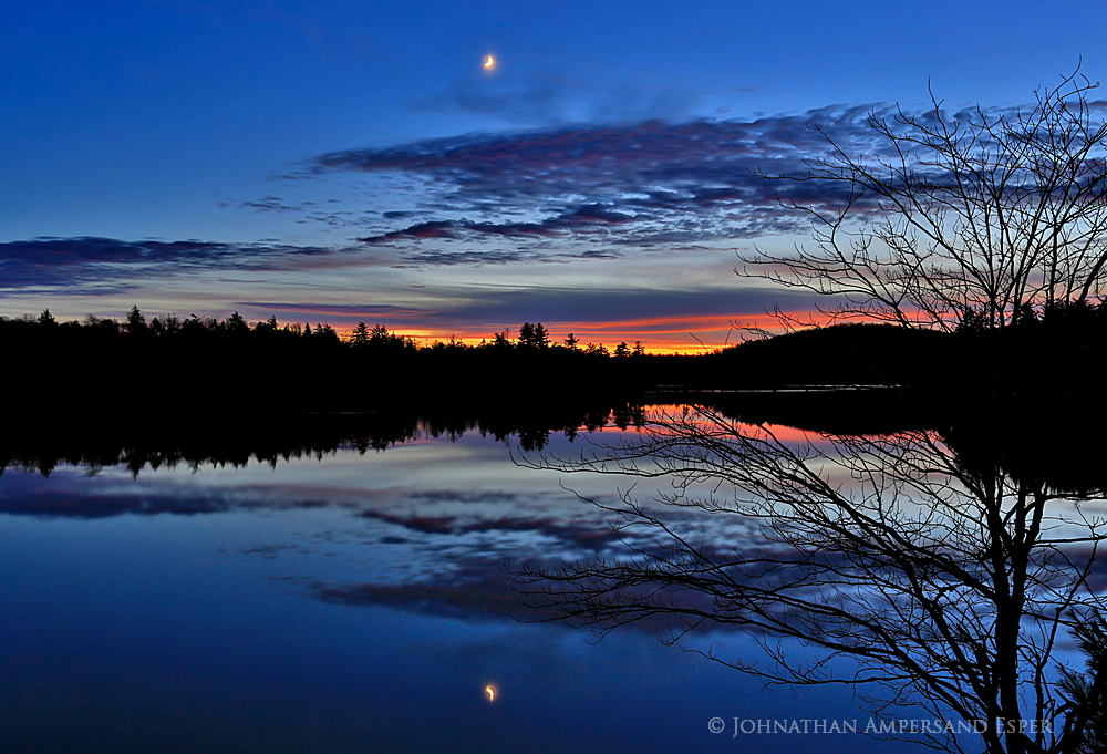 Mason Lake,twilight,moon,glow,afterglow,November,2014,reflection,sunset,Adirondack Park,, photo