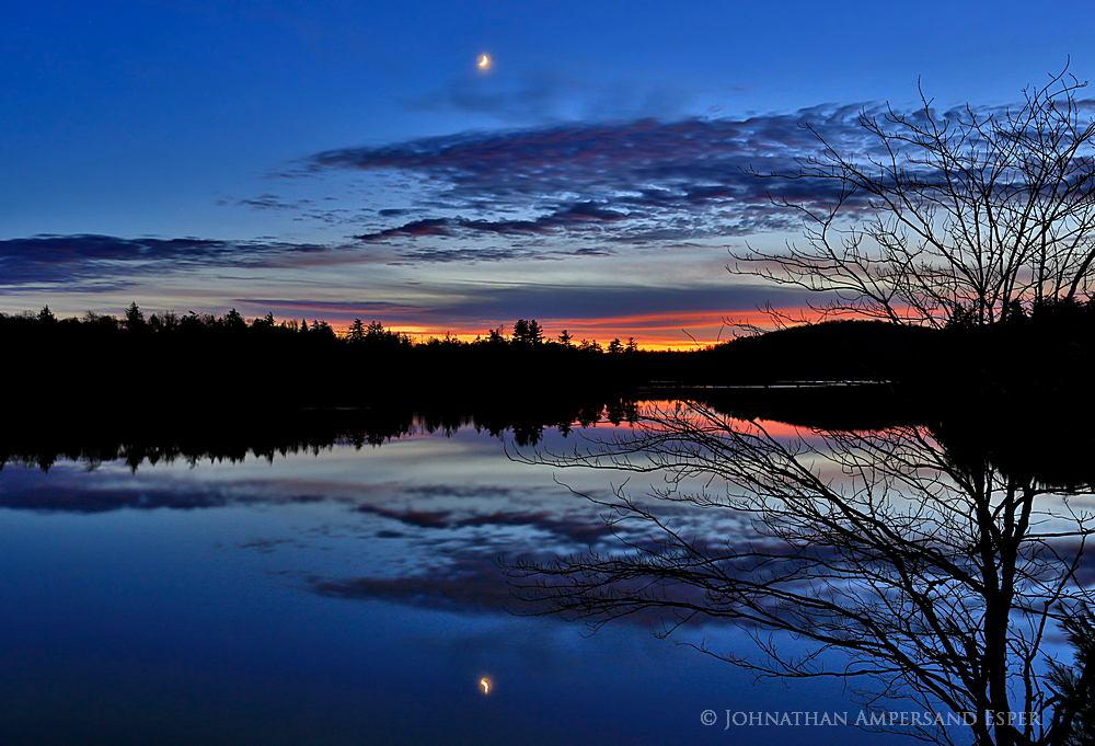 Mason Lake,twilight,moon,glow,afterglow,November,2014,reflection,sunset,Adirondack Park,, photo