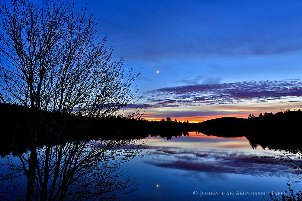 Mason Lake,tree sillouette,twilight,moon,glow,maple,maple tree,reflection,sunset,November,pond,, photo