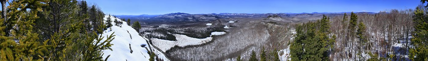 Treetop 360+ degree panorama from Maxam Mt of Gore Mt ski area, and north toward High Peaks