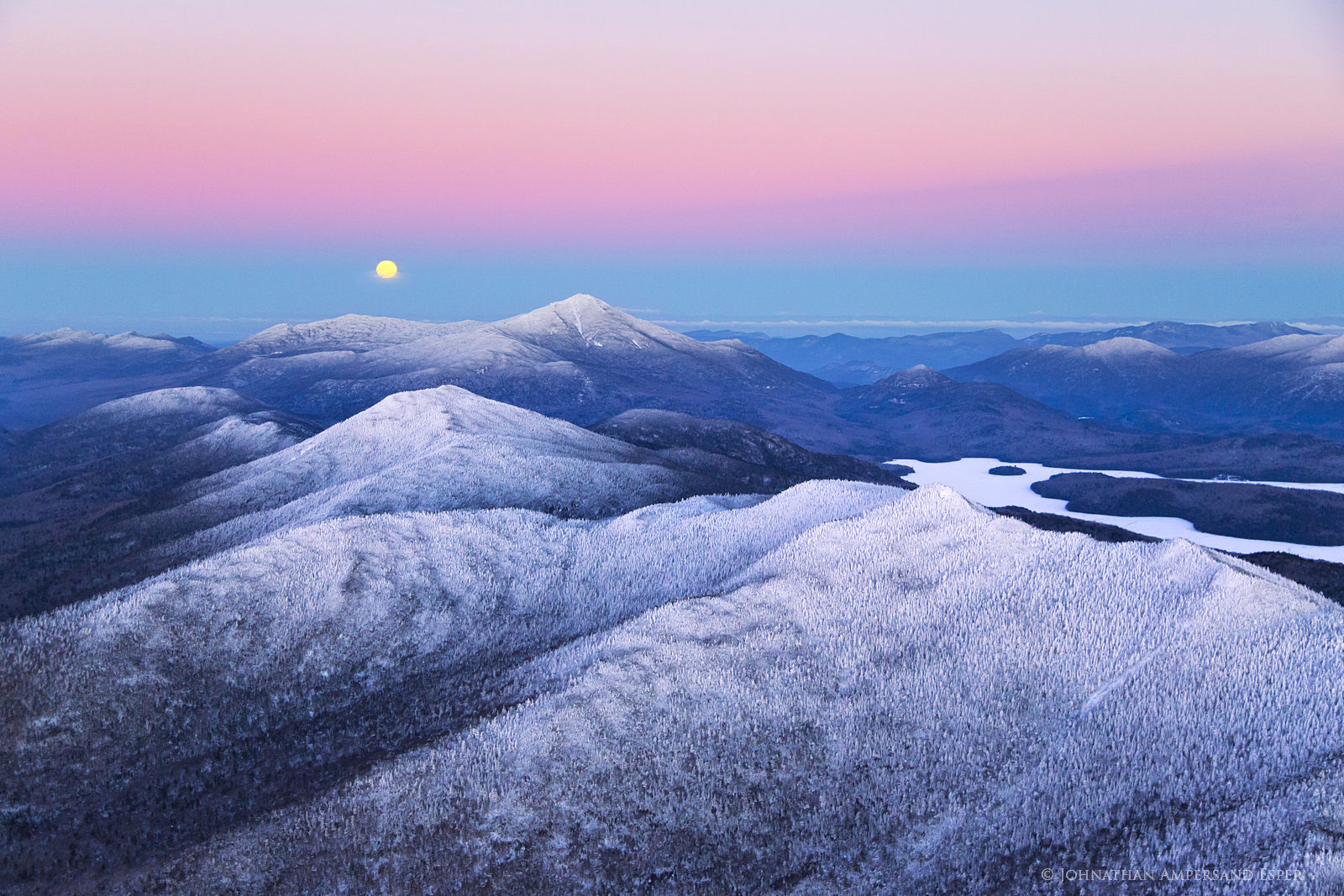 McKenzie Mt,Whiteface Mt,full moon,moon,moonrise,pink,dusk,winter,Lake Placid,High Peaks,Adirondacks,Adirondack,region,rising,full,moon,snowy,cold, photo