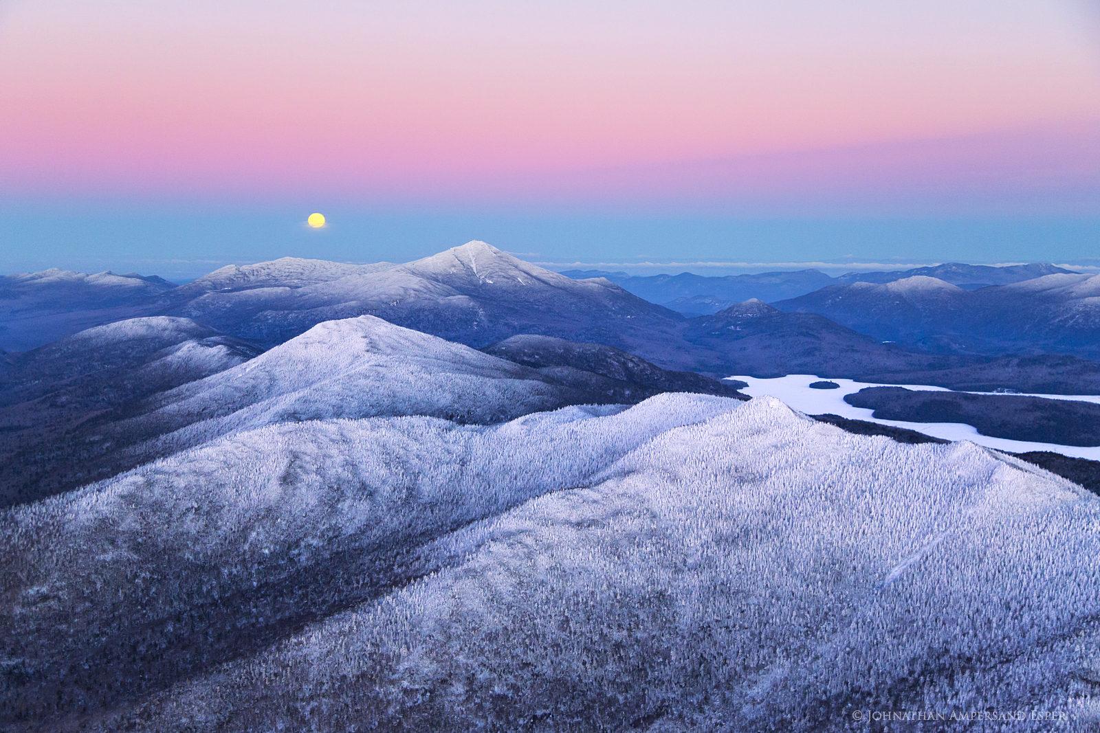 McKenzie Mt,Whiteface Mt,full moon,moon,moonrise,pink,dusk,winter,Lake Placid,High Peaks,Adirondacks,Adirondack,region,rising...