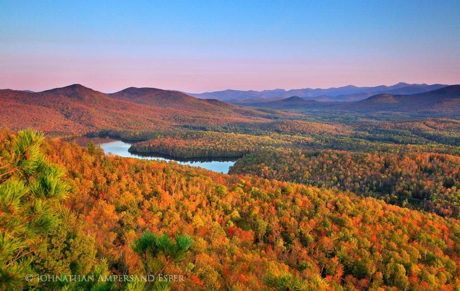 McKenzie Pond,Adirondack Park,Saranac Lake,Baker Mt,treetop,autumn,pond,Johnathan Esper,High Peaks, photo